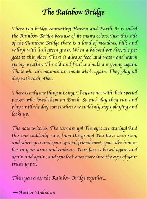 printable version of the rainbow bridge poem rainbow bridge pet poem printable google search