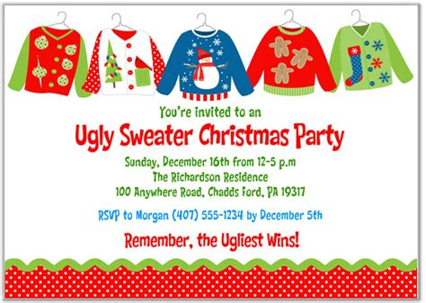 ugly christmas sweater poems invitations sweater