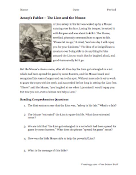 Fables Comprehension Worksheets by Aesop S Fables Reading Comprehension 3 Freeology