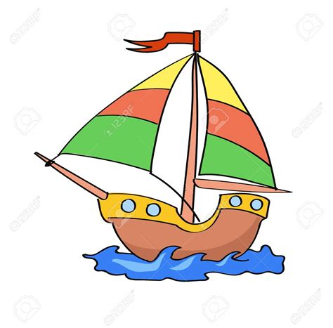 cartoon pic of boat boat cartoon colorful on a white background