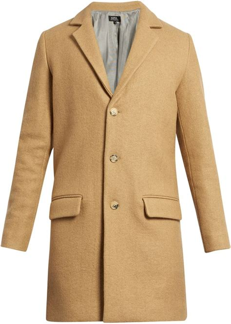 Lapel Single Breasted Coat a p c lewis notch lapel single breasted wool blend coat
