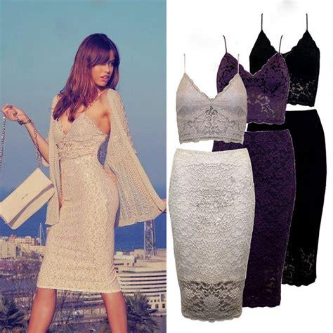 Black Lace Set Crop Topskirts 9045 womens black lace bralet bustier crop top skirt two dress set ebay