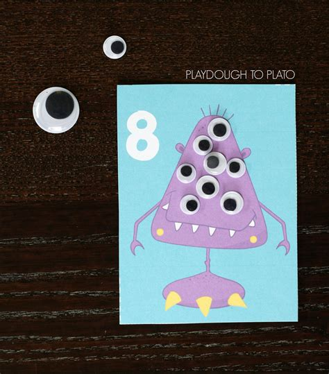 Gift Card Monster - monster counting cards playdough to plato