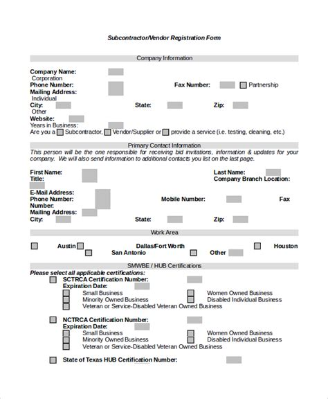9 Sle Vendor Registration Forms Sle Templates Vendor Form Template