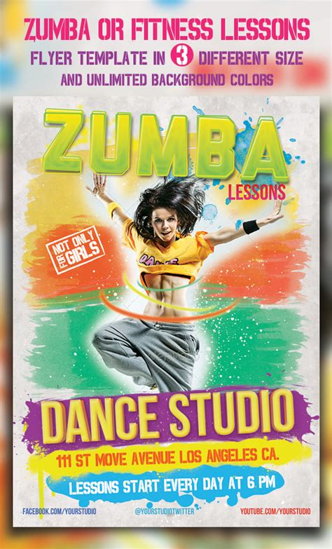 zumba or fitness lessons flyer templates by majkolthemez