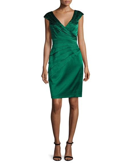 Dress Of The Day Unger Silk Cocktail Dress by Unger New York Cap Sleeve Tiered Stretch Satin