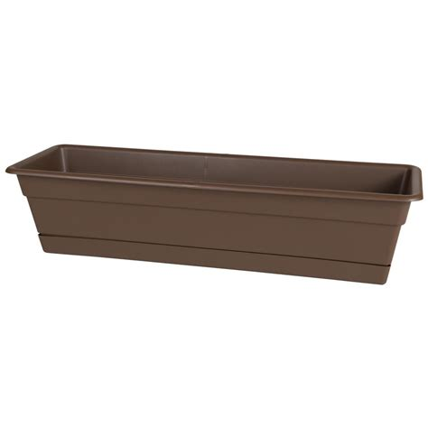 Algreen Modena 30 In Square Matte Granite Plastic Self Plastic Planter Boxes