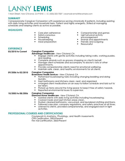 Caregivers Companions Resume Examples   Wellness Resume