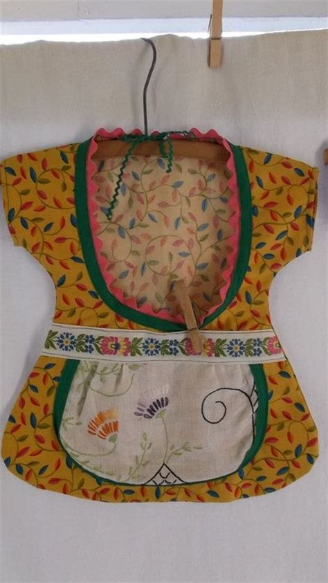 pattern peg apron clothes pin bag made from vintage items dress with apron