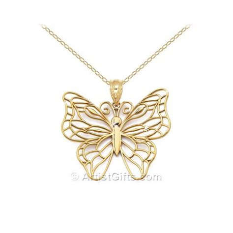 Butterfly Gold open design gold butterfly necklace made in u s a