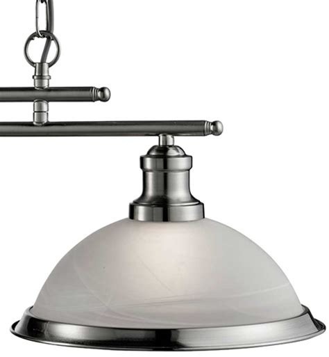 Bistro Retro Satin Silver 2 L Kitchen Pendant Light Bar Pendant Light Bar