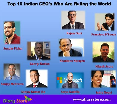 Ceo S top 10 indian ceo s who are ruling the world diary store