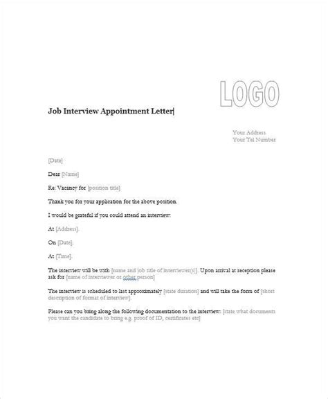 appointment letter templates ms word pages