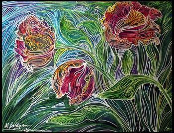 abstract design for batik parrot tulips batik abstract by marcia baldwin