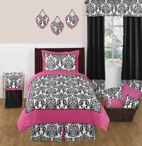 black white pink comforter sweet jojo designs isabella hot pink black and white
