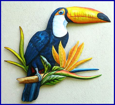 tropical metal wall decor painted toucan metal tropical wall decor painted