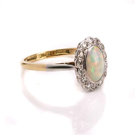 opal deco ring deco opal and cluster ring