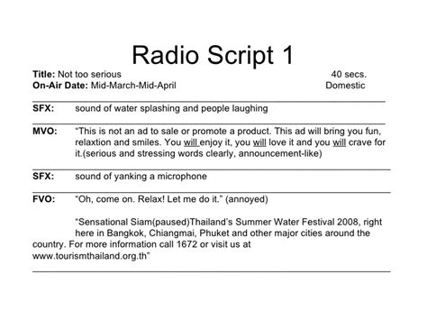 radio script template tat advertising caign