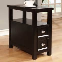 Black wood rectangle shaped chairside sofa end table w shelf 2 drawers
