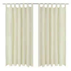 vidaxl co uk 2 pcs cream micro satin curtains with loops