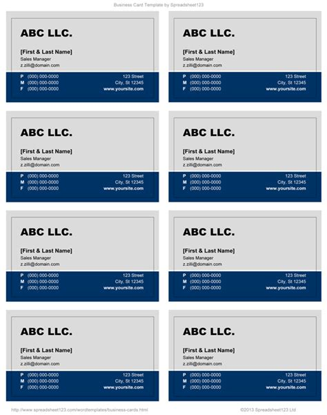 Business Card Templates For Word Business Card Template Word