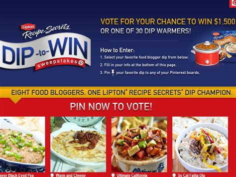 Recipe Com Sweepstakes - lipton recipe secrets dip to win sweepstakes