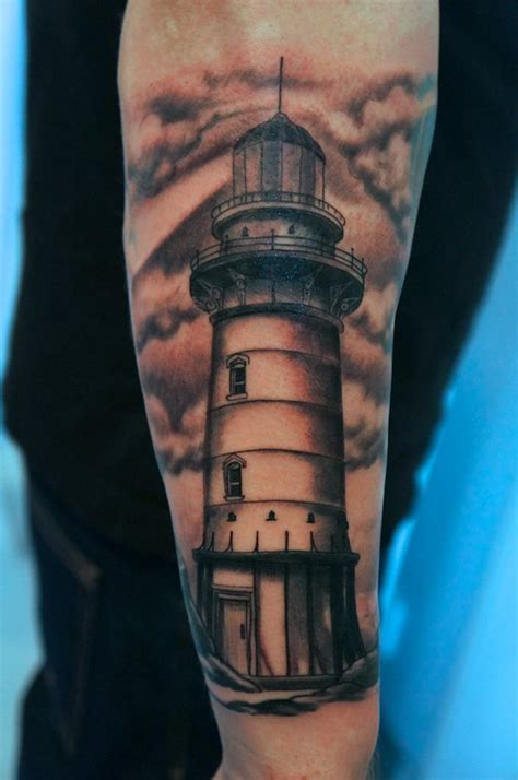 black and grey lighthouse tattoo 30 beautiful lighthouse tattoos on forearm