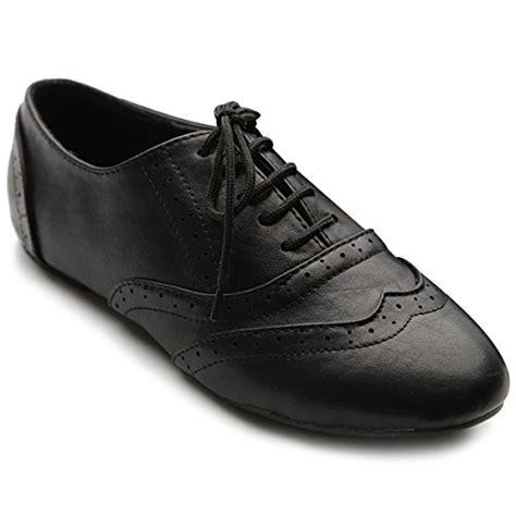 womens black oxford dress shoes ollio s shoe classic lace up dress low flat heel