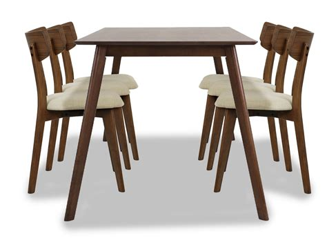 Walnut Dining Table Set Ross Dining Table Set In Walnut 1 6 Furniture Home D 233 Cor Fortytwo