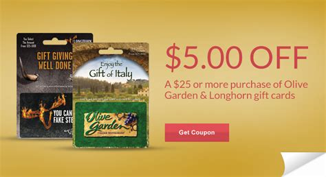 Longhorn Steakhouse Gift Card Deals - rite aid coupon 5 00 off olive garden longhorn gift card ftm