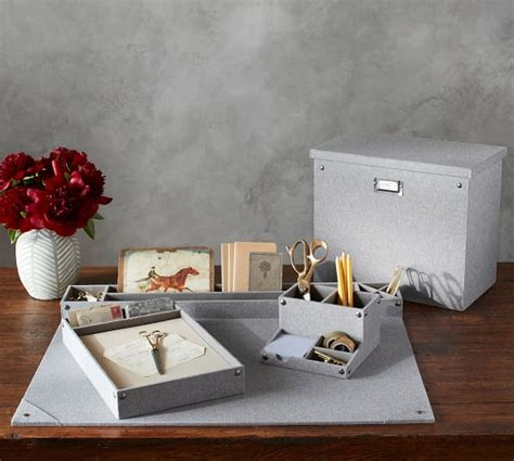 pottery barn desk accessories gray blythe linen desk accessories file box