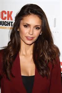 Nina dobrev wavy dark brown long layers hairstyle steal her style