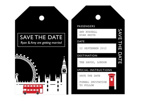 Printable Save The Date Luggage Tags | printable save the date london uk wedding invitation