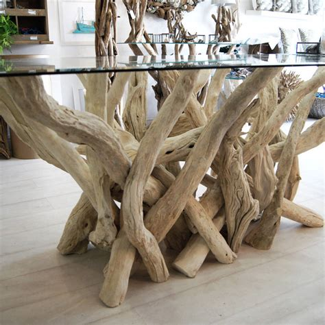 driftwood and glass dining table rectangular driftwood dining table by doris brixham