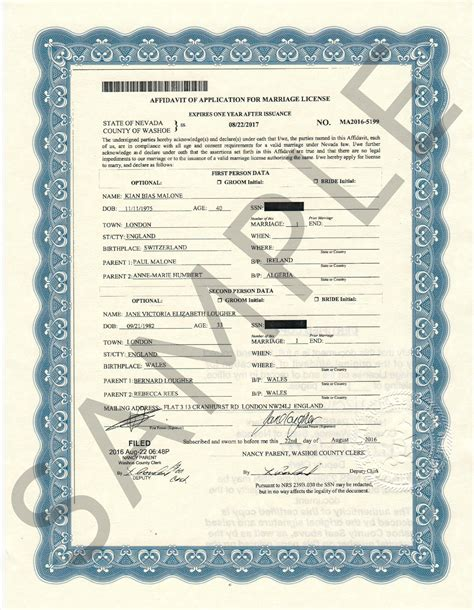 Reno Nevada Marriage Records Sle Certificates Nevada Document Retrieval Service