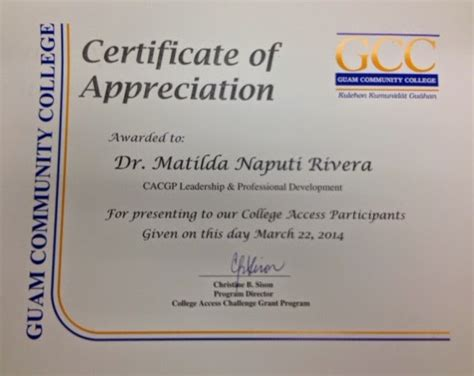 Reflective Journey In The Pacific April 2014 Certificate Of Appreciation Ppt