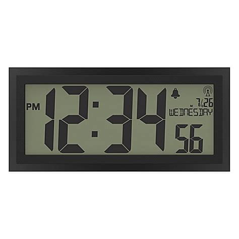 digital atomic desk clock la crosse jumbo atomic digital wall clock bed bath beyond