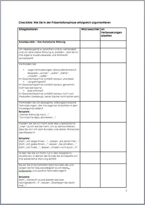 Word Vorlage Checkliste Checkliste Argumentation In Der Pr 228 Sentationsphase Muster Vorlage Zum