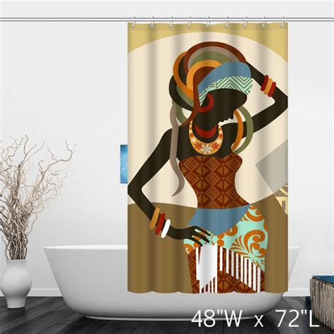 african themed curtains african woman painting art decor shower curtain custom