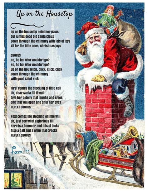 printable lyrics up on the housetop click click click up on the housetop lyrics famlii