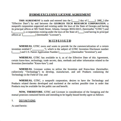 content license agreement template sle license agreement 7 exle format