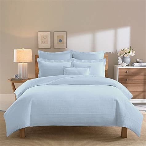 real simple bedding real simple 174 linear blue duvet cover bed bath beyond