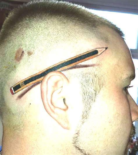 behind ear tattoos for men pencil ear creative work