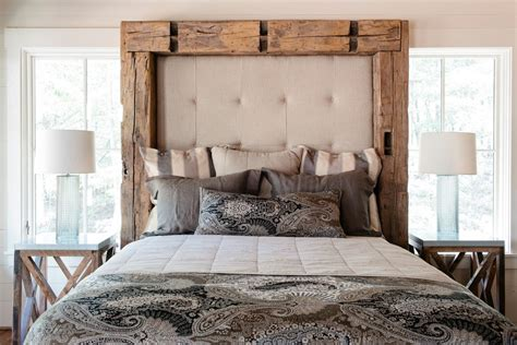 sumptuous padded headboard in bedroom rustic with homemade