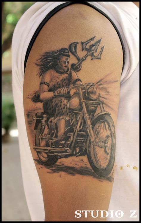 angry lord shiva tattoo designs lord shiva on bullet on right shoulder by studio z