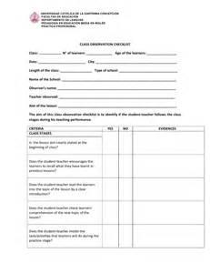 Teacher Observation Report Template Class Observation Checklist Class Stages