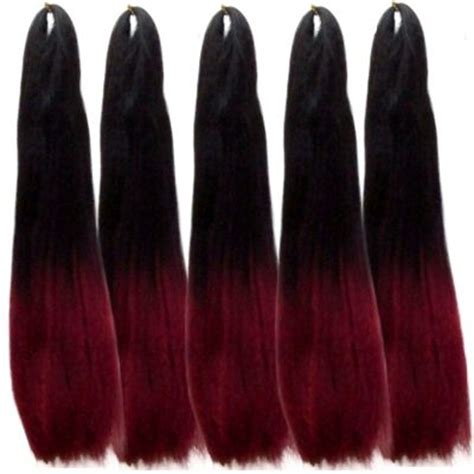 a picture of a pack of kanekolon extra long hair in stock spicy red dark red 5 packs included ombre