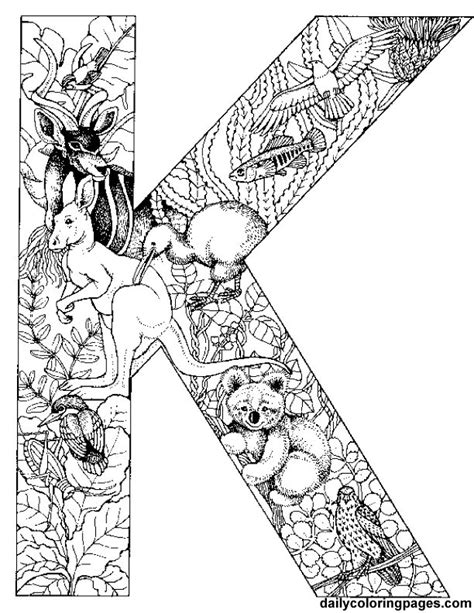 difficult alphabet coloring pages k is for koala alphabet letters to print and color