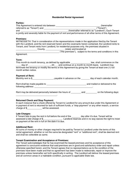 printable yearly rental agreement free copy rental lease agreement residential rental