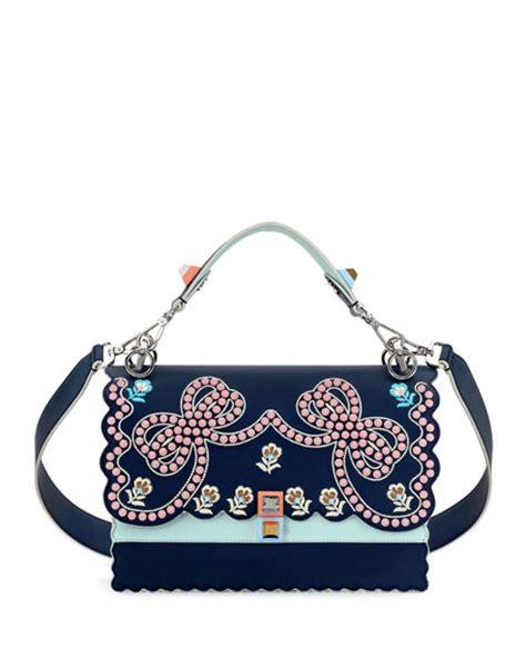 Fendi Flower Top Handle Stud Fendi Kan I Studded Bows Top Handle Shoulder Bag Blue
